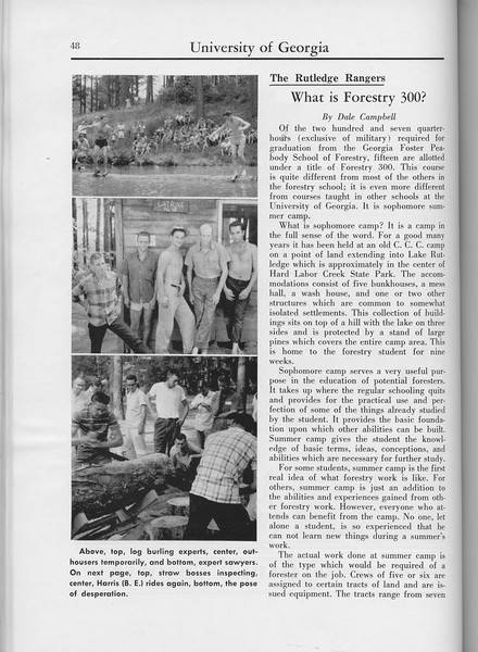 "The Cypress Knee, 1960, ""What is Forestry 300?"", Dale Campbell, pg. 48"