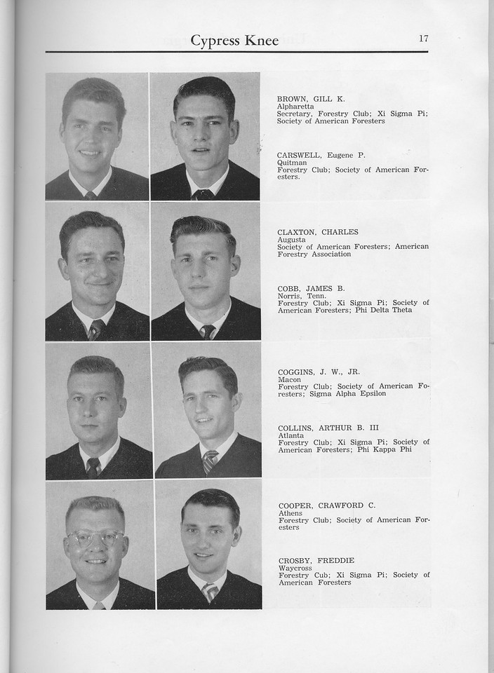 The Cypress Knee, 1960, Seniors, Gill K. Brown, Eugene P. Carswell, Charles Claxton, James B. Cobb, J. W. Coggins Jr., Arthur B. Collins III, Crawford C. Cooper, Freddie Crosby, pg. 17