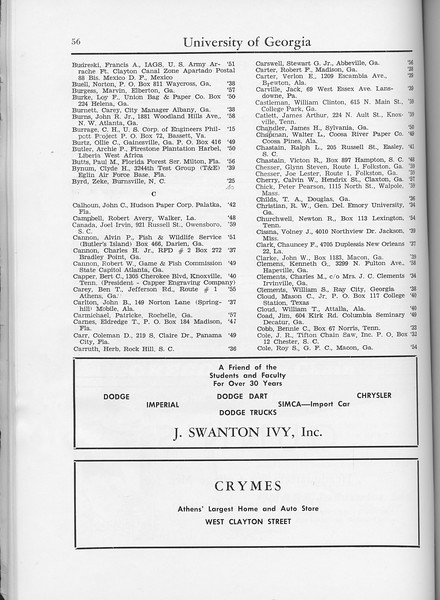 The Cypress Knee, 1960, Alumni Directory, J. Swanton Ivy Inc., Crymes, pg. 56