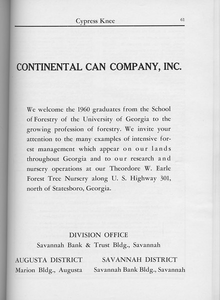 The Cypress Knee, 1960, Continental Can Company Inc., pg. 61