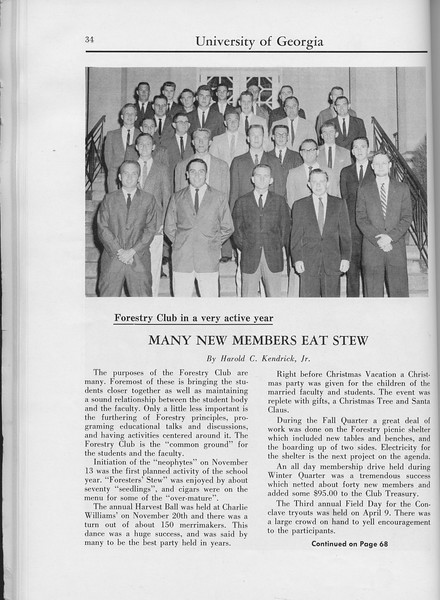 "The Cypress Knee, 1960, ""Many New Members Eat Stew"", Harold C. Kendrick, Forestry Club, pg. 34"