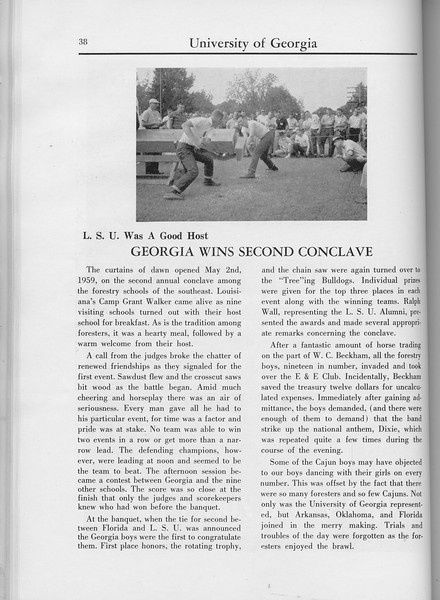 "The Cypress Knee, 1960, ""Georgia Wins Second Conclave"", pg. 38"