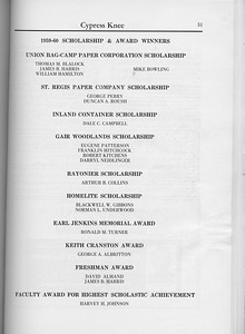 The Cypress Knee, 1960, Scholarships and Awards, pg. 51