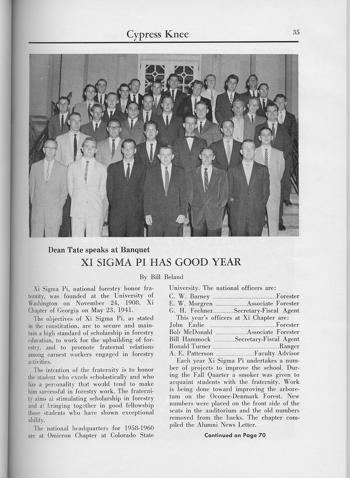"The Cypress Knee, 1960, ""Xi Sigma Pi has Good Year"", Bill Beland, pg. 35"