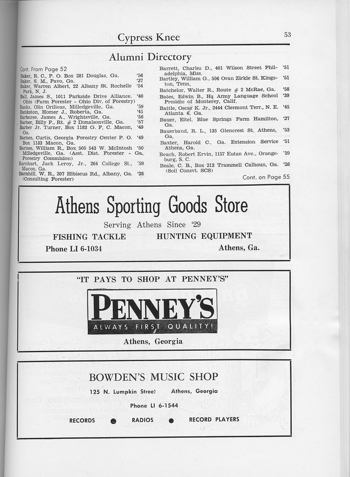 The Cypress Knee, 1960, Alumni Directory, Athens Sporting Goods Store, Penney's, Bowden's Music Shop, pg. 53