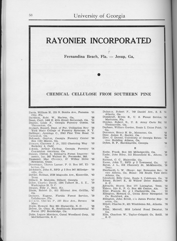 The Cypress Knee, 1960, Alumni Directory, Rayonier Incorporated, pg. 58