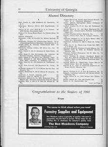 The Cypress Knee, 1960, Alumni Directory, The Ben Meadows Company, pg. 52