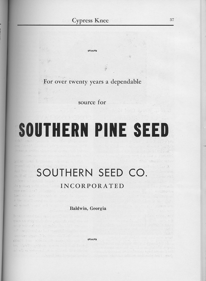 The Cypress Knee, 1960, Southern Seed Co., pg. 37