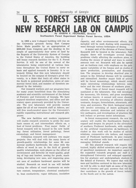 "The Cypress Knee, 1962, ""U. S. Forest Service Builds New Research Lab on Campus, Joseph F. Pechanec, pg. 34"