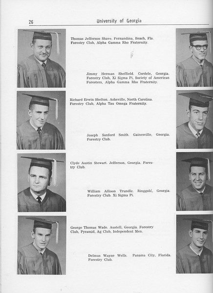 The Cypress Knee, 1962, Seniors, Thomas Jefferson Shave, Jimmy Herman Sheffield, Richard Erwin Shelton, Joseph Sanford Smith, Clyde Austin Stewart, William Allison Trundle, George Thomas Wade, Delmus Wayne Wells, pg. 26