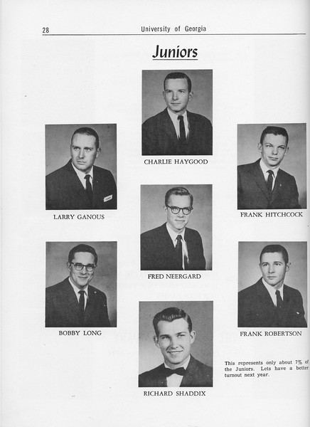 The Cypress Knee, 1962, Junior Class, Charlie Haygood, Larry Ganous, Frank Hitchcock, Fred Neergard, Bobby Long, Frank Robertson, Richard Shaddix, pg. 28
