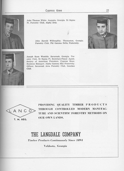 The Cypress Knee, 1962, Seniors, John Thomas White, John Harold Willoughby, Joseph Ryan Womble, The Langdale Company, pg. 27