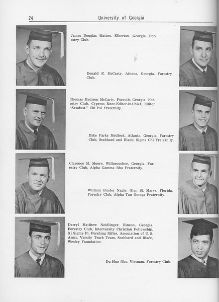 The Cypress Knee, 1962, Seniors, James Douglas Mattox, Donald E. McCarty, Thomas Madison McCarty, Mike Parks Medlock, Clarence M. Moore, William Binder Nagle, Darryl Matthew Neidlinger, Du Huo Nho, pg. 24