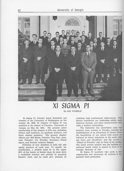 The Cypress Knee, 1962, Xi Sigma Pi, Joe Womble, pg. 42