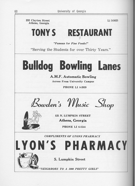 The Cypress Knee, 1962, Tony's Restaurant, Bulldog Bowling Lanes, Bowden's Music Shop, Lyon's Pharmacy, pg. 60