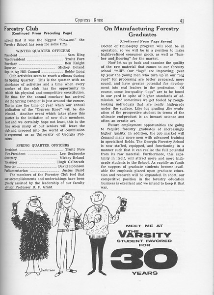 "The Cypress Knee, 1962, Forestry Club (continued), ""On Manufactuing Forestry Graduate"" (continued), The Varsity, pg. 41"