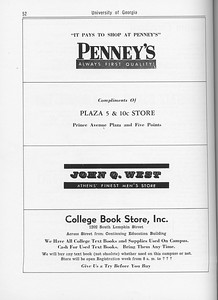 The Cypress Knee, 1962, Penney's, Plaza 5 and 10c Store, John Q. West, College Book Store, pg. 52