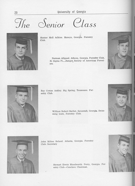 The Cypress Knee, 1962, Seniors, Hunter Mell Adkins, Norman Allgood, Roy Cowan Ashley, William Robert Barbot, John Milton Beland, Stewart Erwin Bloodworth, pg. 20