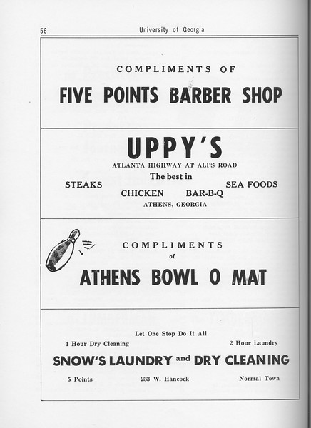 The Cypress Knee, 1962, Five Points Barber Shop, Uppy's, Athens Bowl O Mat, Snow's Laundry and Dry Cleaning, pg. 56
