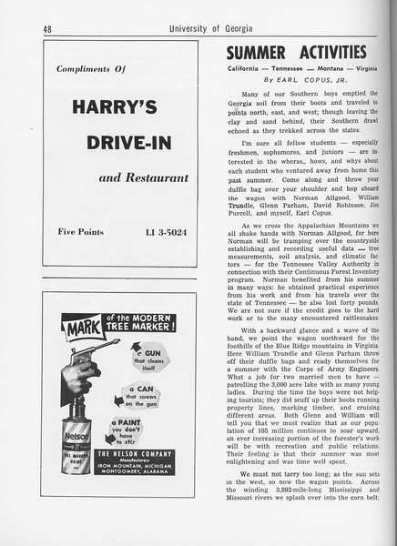 "The Cypress Knee, 1962, ""Summer Activities"", Earl Copus Jr., Harry's Drive-In, The Nelson Company, pg. 48"