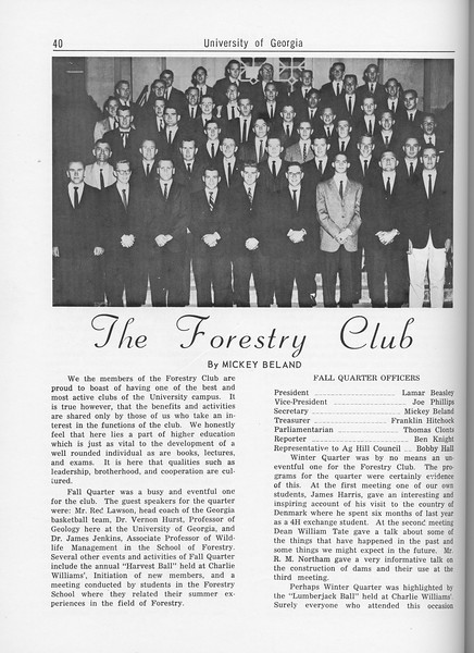 The Cypress Knee, 1962, The Forestry Club, Mickey Beland, pg. 40