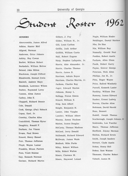 The Cypress Knee, 1962, Student Roster, pg. 30