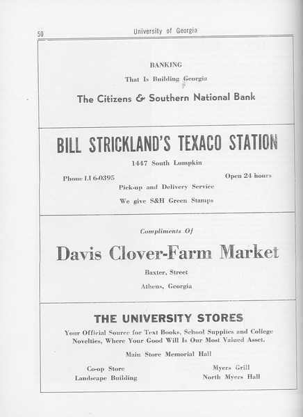 The Cypress Knee, 1962, The Citizens and Southern National Bank, Bill Strickland's Texaco Station, Davis Clover-Farm Market, The University Stores, pg. 50