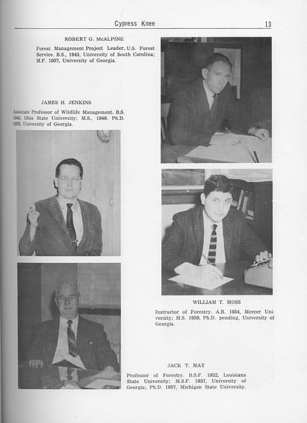 The Cypress Knee, 1962, Forestry Faculty and U. S. Forest Service Research Staff, James H. Jenkins, Jack T. May, Robert G. McAlpine, William T. Moss, pg. 13