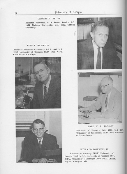 The Cypress Knee, 1962, Forestry Faculty and U. S. Forest Service Research Staff, Albert F. Ike, John R. Hamilton, Lyle W. R. Jackson, Leon A. Hargreaves, pg. 12