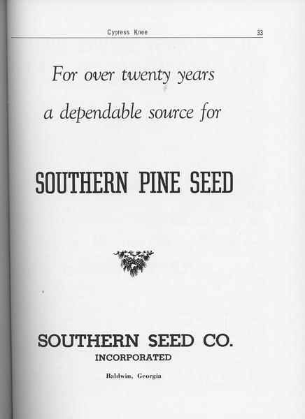 The Cypress Knee, 1962, Southern Seed Co., pg. 33