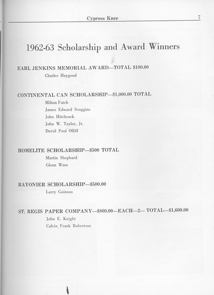 The Cypress Knee, 1963, Scholarhsips and Awards, pg. 7
