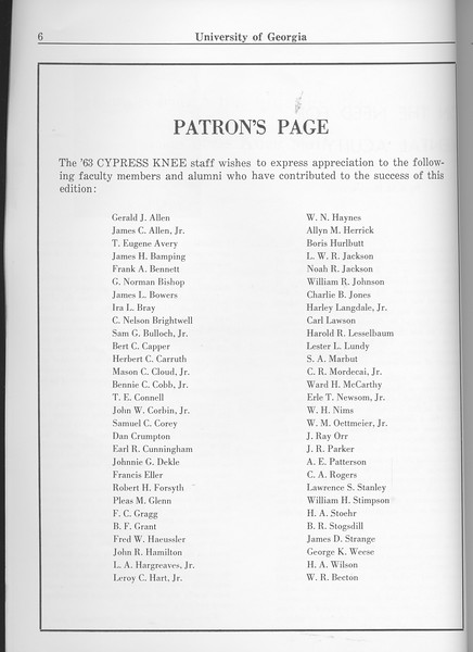 The Cypress Knee, 1963, Patron's Page, pg. 6
