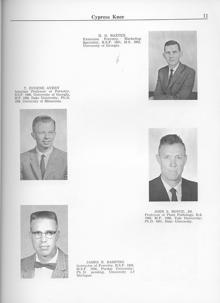The Cypress Knee, 1963, Faculty and Research Staff, H. O. Baxter, T. Eugene Avery, John S. Boyce Jr., James H. Bamping, pg. 11