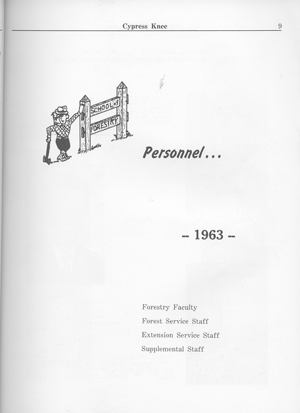 The Cypress Knee, 1963, Introduction to Personell, pg. 9