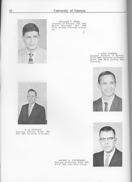The Cypress Knee, 1963, Faculty and Research Staff, William T. Moss, J. Reid Parker, B. R. Murray, Archie E. Patterson, pg. 16