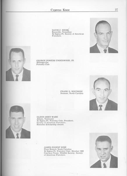 The Cypress Knee, 1963, Seniors, David C. Webb, George Powers Underwood, Frank D. Whitmire, Glenn Oren Ware, James Ernest Wise, pg. 37