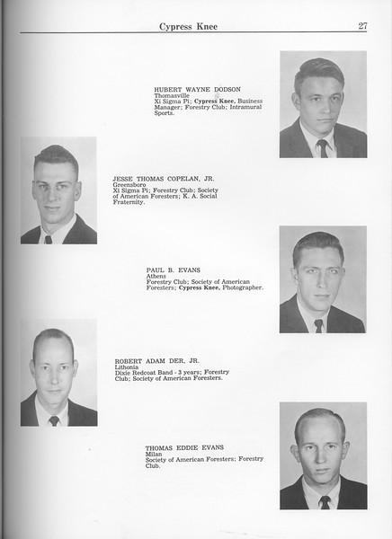 The Cypress Knee, 1963, Seniors, Hubert Wayne Dodson, Jesse Thomas Copelan, Paul B. Evans, Robert Adam Der, Thomas Eddie Evans, pg. 27