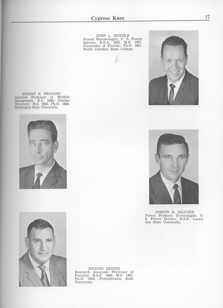 The Cypress Knee, 1963, Faculty and Research Staff, Ernest E. Provost, Mervin Reines, John L. Ruehle, Joseph R. Saucier, pg. 17