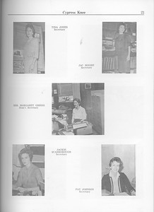 The Cypress Knee, 1963, Faculty and Research Staff, Tina Jones, Jac Moore, Mrs. Margaret Gregg, Jackie Scarborough, Pat Johnson, pg. 21