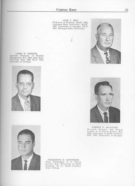 The Cypress Knee, 1963, Faculty and Research Staff, James H. Jenkins, Frederick R. Matthews, Jack T. May, Robert G. McAlpine, pg. 15