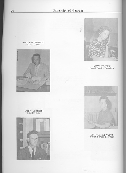 The Cypress Knee, 1963, Faculty and Research Staff, Dave Porterfield, Larry Johnson, Maye Doster, Myrtle Schwartz, pg. 20