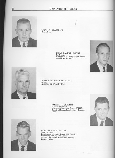 The Cypress Knee, 1963, Seniors, Lewis P. Brown, Billy Baldwin Byars, Joseph Thomas Bryan, Samuel R. Chapman, Roswell Craig Butler, pg. 26