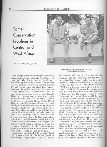 """The Cypress Knee, 1963, """"Some Conservation Problems in Central and West Africa, Dr. James H. Jenkins, pg. 48"""
