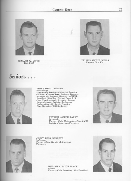 The Cypress Knee, 1963, Graduate Students, Richard W. Jones, Delmus Wayne Wells, Seniors, James David Almand, Patrick Joseph Barry, Jimmy Leon Barrett, William Clinton Black, pg. 25