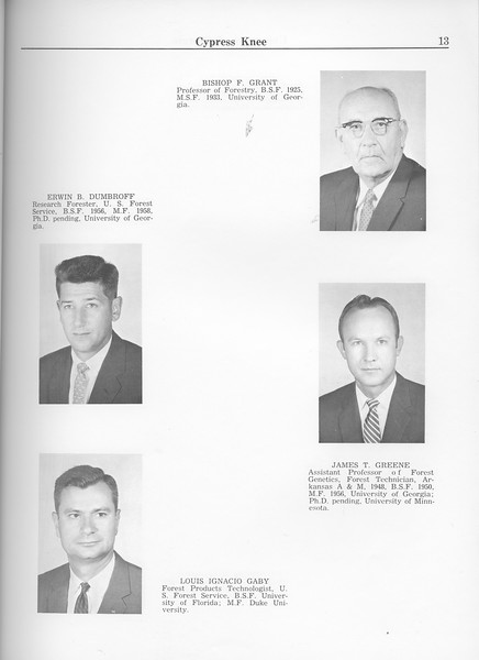 The Cypress Knee, 1963, Faculty and Research Staff, Erwin B. Dumbroff, Louis Ignacio Gaby, Bishop F. Grant, James T. Greene, pg. 13