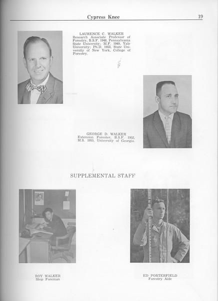 The Cypress Knee, 1963, Faculty and Research Staff, Laurence C. Walker, George D. Walker, Roy Walker, Ed Porterfield, pg. 19