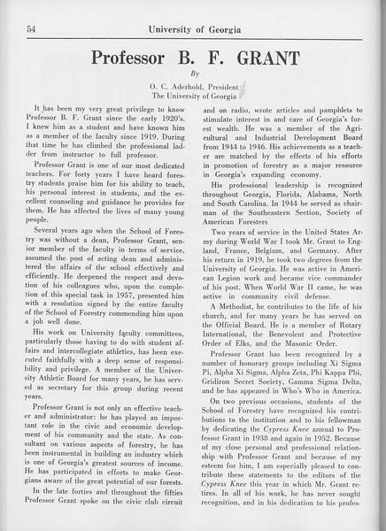 The Cypress Knee, 1965, Professor B. F. Grant, O. C. Aderhold, pg. 54