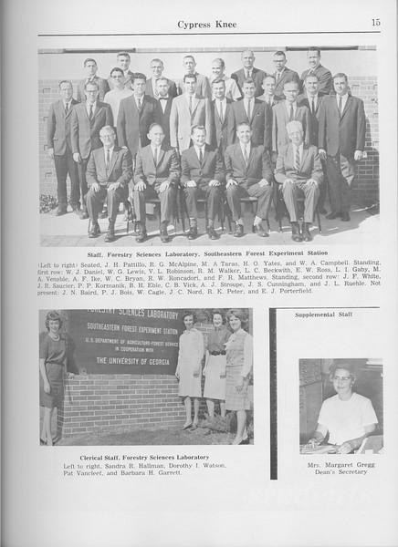 The Cypress Knee, 1965, Faculty and Research Staff, Sandra R. Hallman, Dorothy I. Watson, Pat Vancleet, Barbara H. Garrett, Margaret Gregg, pg. 15