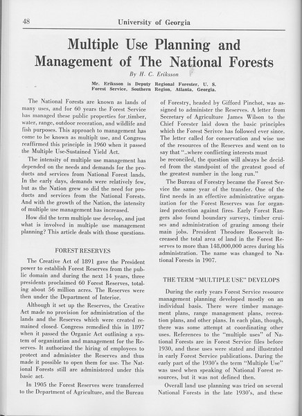 "The Cypress Knee, 1965, ""Multiple Use Planning and Management of the National Forests"", H. C. Eriksson, pg. 48"