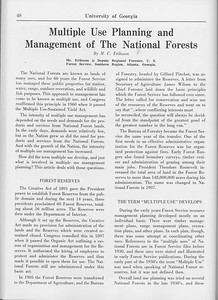 """The Cypress Knee, 1965, """"Multiple Use Planning and Management of the National Forests"""", H. C. Eriksson, pg. 48"""
